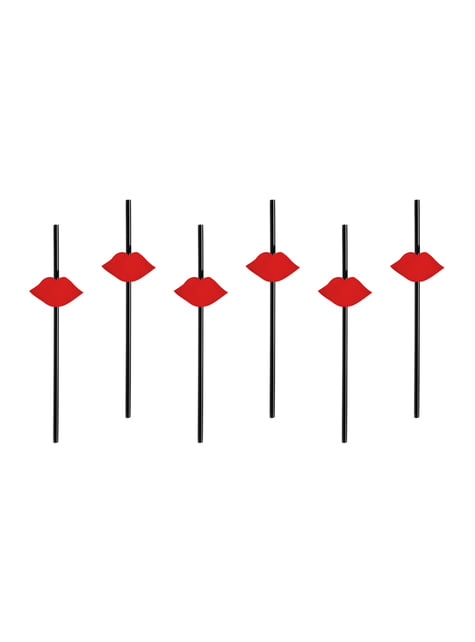 6 pajitas negras con figuras de labios rojos