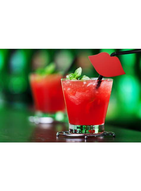 6 pajitas negras con figuras de labios rojos - para tus fiestas