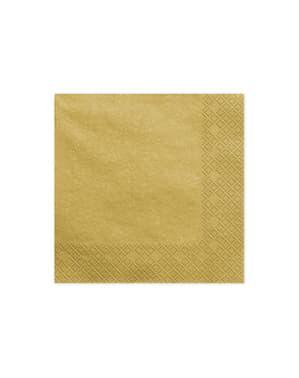 20 servilletas metalizadas doradas de papel (33x33 cm)