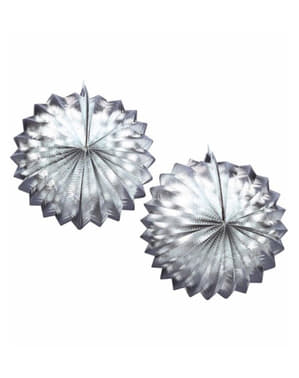 2 Decorative Paper Lanterns in Silver