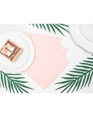 20 serviettes roses pastel clair en papier