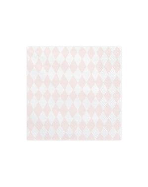 20 pastel roze papieren servetten met prin (33x33 cm) - Eenhoorn