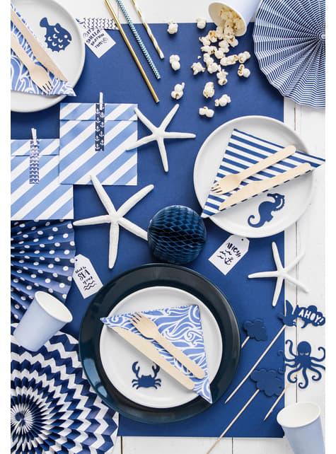 20 servilletas estampadas azules y blancas de papel (33x33 cm) - Ahoy!