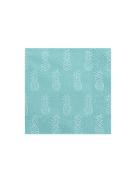 20 tovaglioli azzurri con ananas di cart (33x33cm) - Aloha