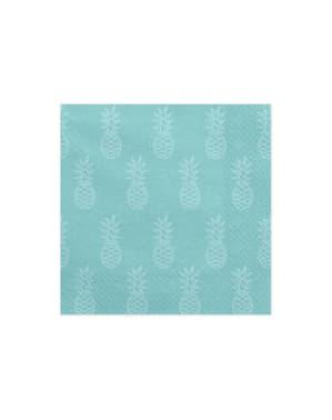 20 blauwe papieren servetten met ananasse (33x33cm) - Aloha