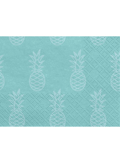 20 servilletas azules con piñas (33x33cm) - Aloha Turquoise - para tus fiestas