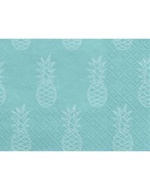 Zestaw 20 niebieskie papierowe serwetki w ananasy - Aloha