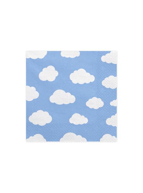 20 servilletas azules con nubes (33x33 cm) - Little Plane