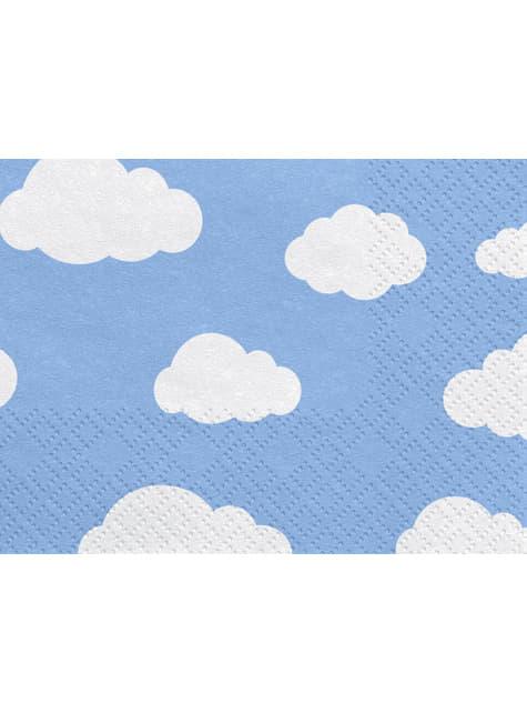 20 guardanapos azuis com nuven (33x33 cm) - Little Plane
