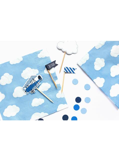 20 Serviettes en papier bleues avec nuages - Little Plane