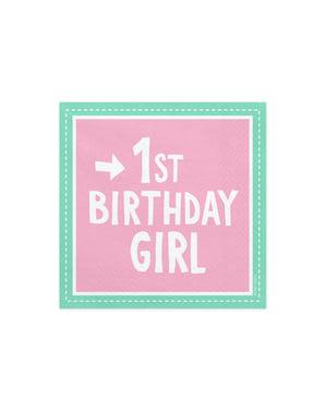 """20 """"1歳の誕生日の女の子""""紙ナプキン、ピンク -  1歳の誕生日のセット"""