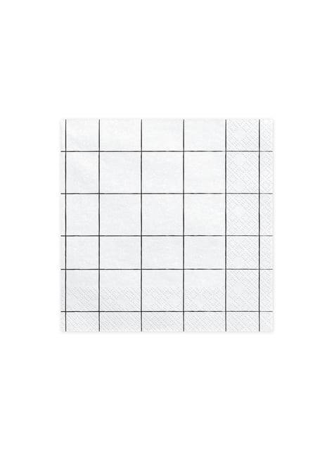 20 White Paper Napkins with Grid Design (33x33 cm)
