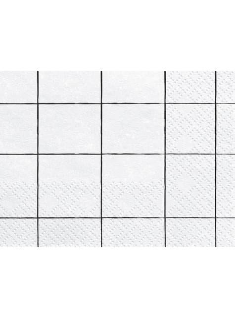 20 serviettes blanches cadrillage en papier