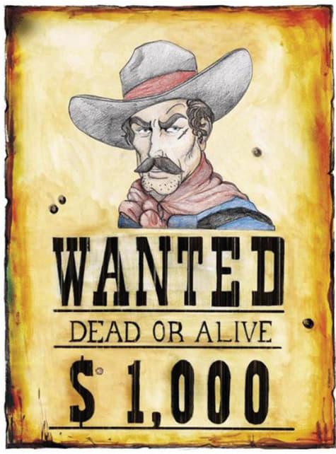 Wanted plakat fra det vilde vesten