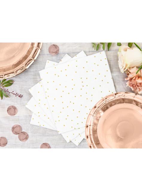 20 servilletas blancas con lunares dorados de papel (33x33 cm) - First communion
