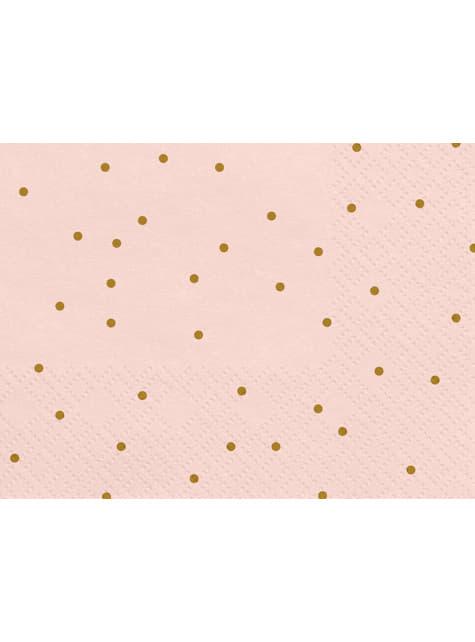 20 servilletas rosas con lunares dorados de papel (33x33 cm) - Wedding in rose colour - para tus fiestas