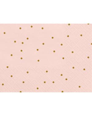 20 servilletas rosas con lunares dorados de papel (33x33 cm) - Wedding in rose colour