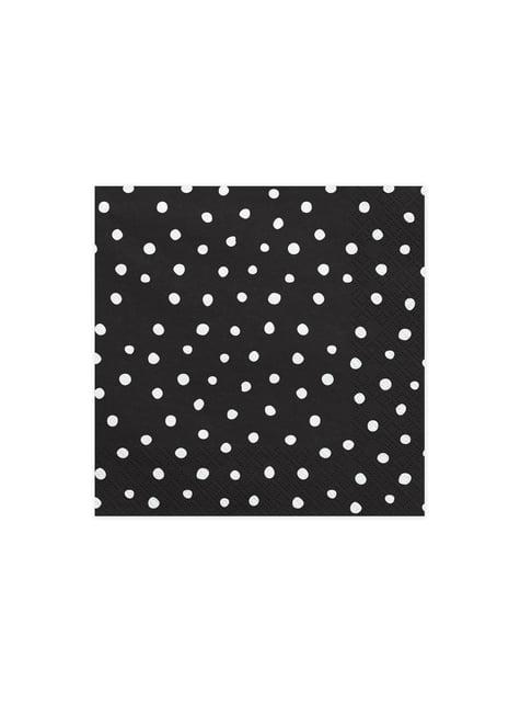 20 servilletas negras con lunares blancos de papel (33x33 cm) - Scandi Christmas Collection