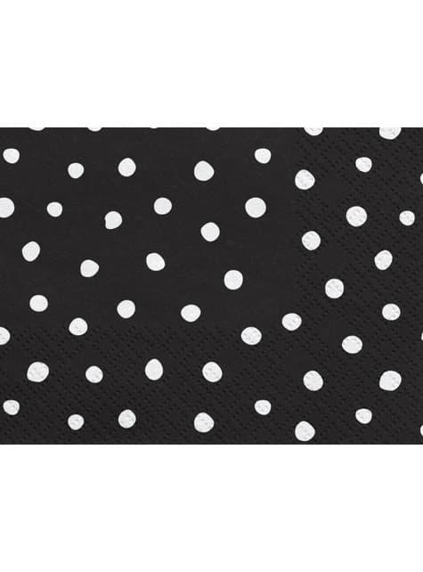 20 servilletas negras con lunares blancos de papel (33x33 cm) - Scandi Christmas Collection - para tus fiestas