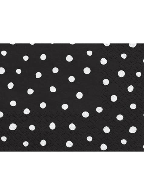 20 Black Paper Napkins with White Dot (33x33 cm) - Scandi Christmas Collection