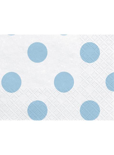 20 tovaglioli bianchi con pois azzurri di carta (33x33 cm)