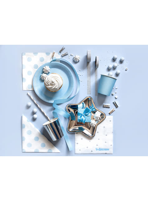 20 White Paper Napkins with Blue Dots (33x33 cm)