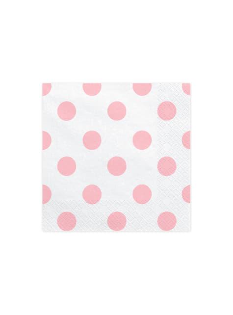 20 serviettes blanches à pois roses en papier