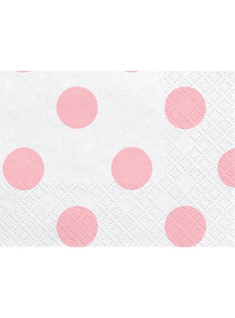 20 tovaglioli bianchi con pois rosa di carta (33x33 cm)