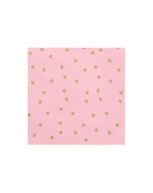 20 pinkkiä paperinenäliinaa kultaisilla tähdillä