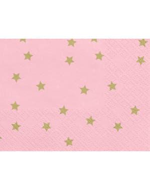 20 guardanapos rosa com estrelas de papel dourado (33x33 cm)