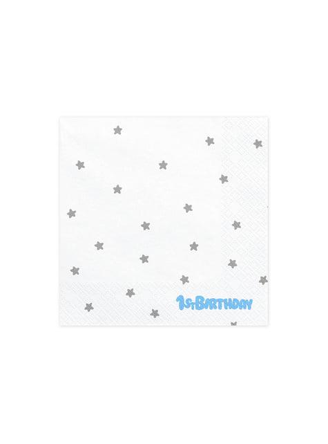 20 guardanapos brancos com estrelas prateadas