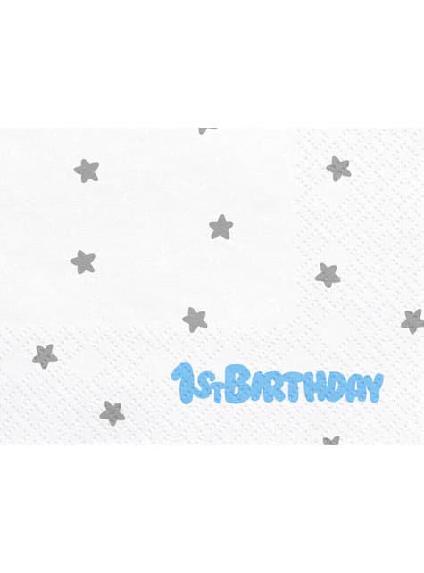 20 serviettes blanches avec étoiles argentées
