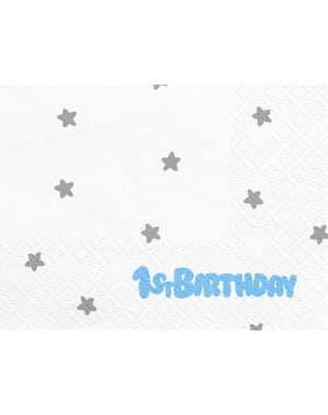 """シルバースタープリント20 """"1歳の誕生日""""ホワイトペーパーナプキンのセット - ブルー1歳の誕生日"""
