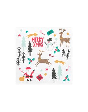 Set 20 bílých papírových ubrousků s vánočním potiskem - Merry Xmas Collection