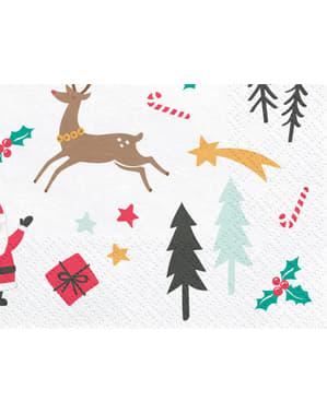20 șervețele cu imprimeu pentru Crăciun de hârtie (33x33 cm) - Merry Xmas Collection