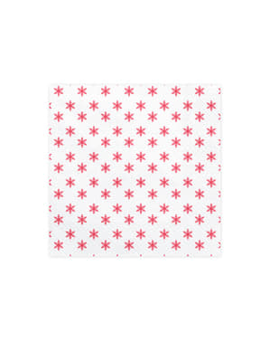 20 serviettes blanches motifs flocons de neige rouges en papier - Merry Xmas Collection
