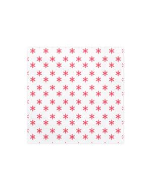 Sett med 20 Hvite Papirservietter med Røde Snøflak - Merry Xmas Collection