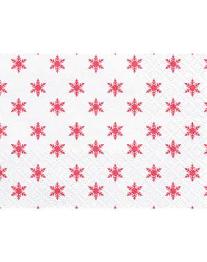 Комплект от 20 бели хартиени салфетки с червени снежинки - Весела Коледна колекция
