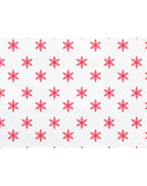 Set 20 bílých papírových ubrousků s červenými sněhovými vločkami - Merry Xmas Collection