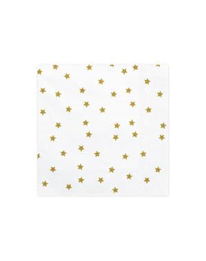 20 guardanapos brancos com estrelas de papel dourado (33x33 cm)