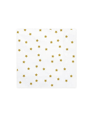 20 White Paper Napkins with Gold Stars Print (33x33 cm)