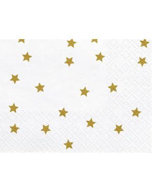 20 valkoista paperinenäliinaa kultatähtipainatuksella