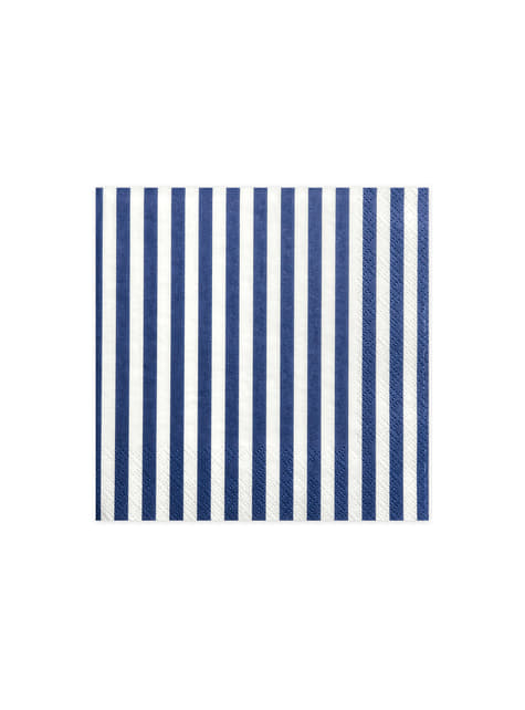 20 White Paper Napkins with Blue Stripes (33x33 cm)