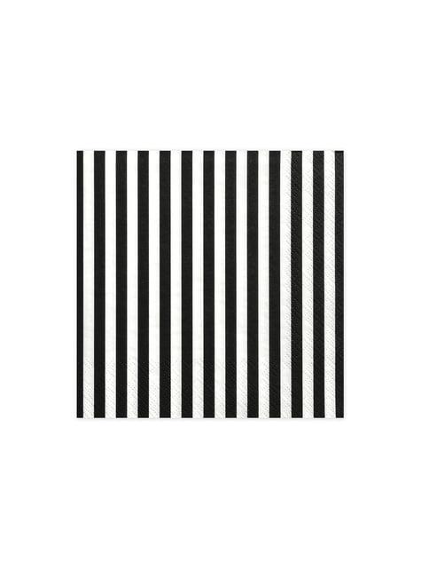 20 servilletas blancas con rayas negras de papel (33x33 cm)