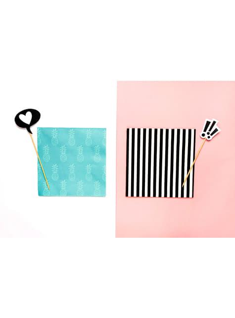 20 servilletas blancas con rayas negras de papel (33x33 cm) - para tus fiestas