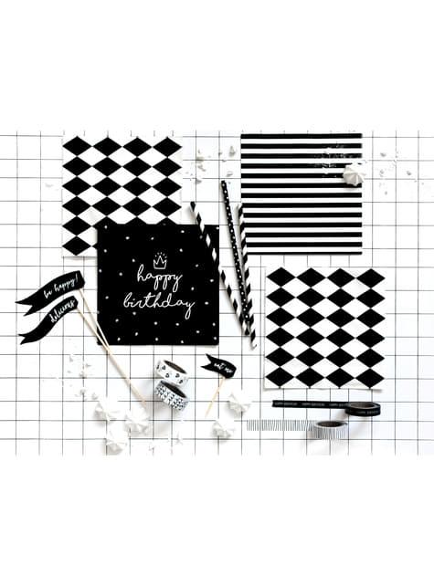 20 servilletas blancas con rayas negras de papel (33x33 cm) - comprar
