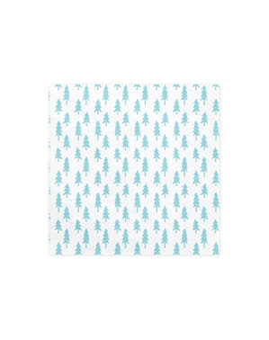 20 witte papieren servetten met kerstbome (33x33 cm) - Merry Xmas Collectie