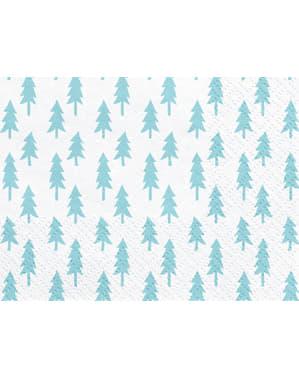 Set 20 bílých papírových ubrousků s vánočními stromky - Merry Xmas Collection