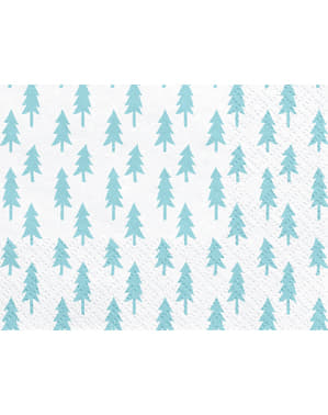 20 șervețele albe cu brazi de Crăciun de hârtie (33x33 cm) - Merry Xmas Collection
