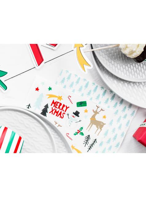 Zestaw 20 białe papierowe serwetki w choinki - Merry Xmas Collection